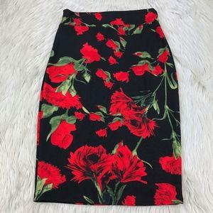 NWOT TuTu Black Red Green Floral Pencil Skirt